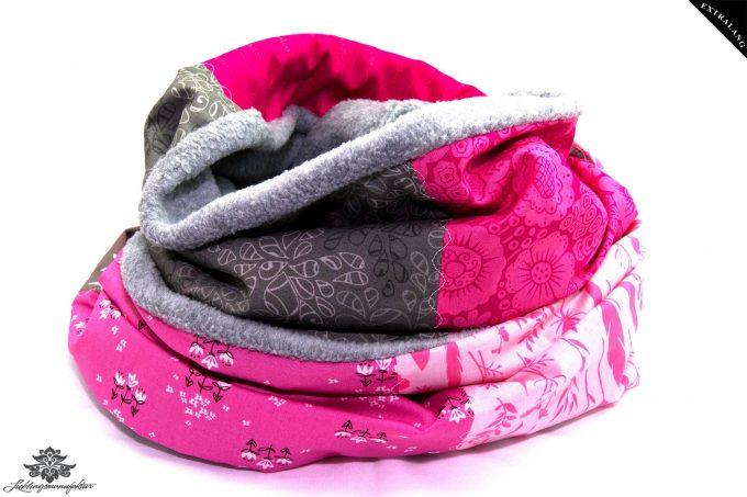 Winterloop rosa grau Loop