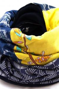 Schal blau gelb