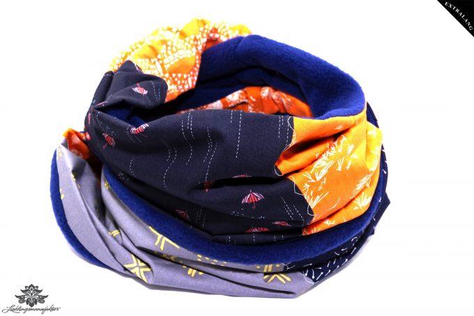 Schal blau orange