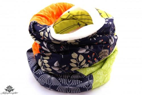 Schal blau orange grün