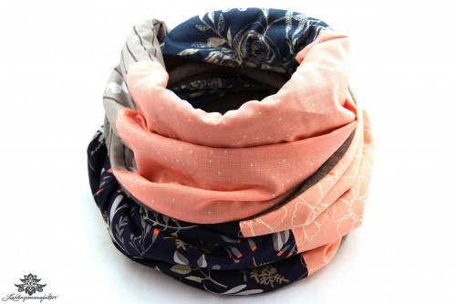 Schal blau rosa grau