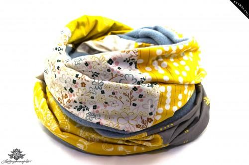 Schal grau blau gelb