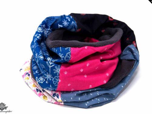 Schal grau blau pink