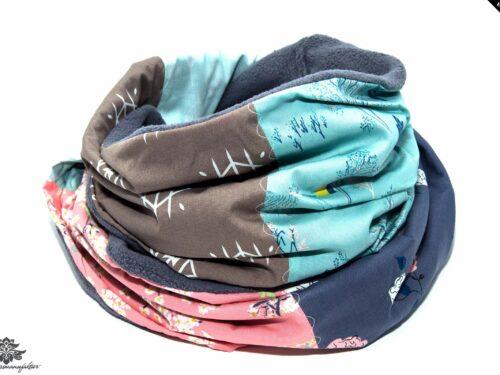Schal grau blau rosa