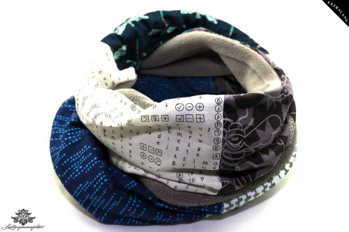 Schal grau blau weiss