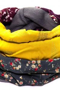 Schal grau gelb