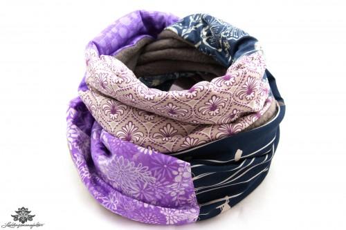 Schal grau lila blau