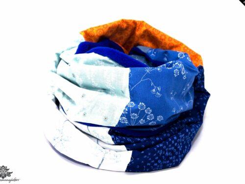 Schal orange blau weiss