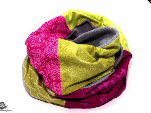 Schal pink grün grau