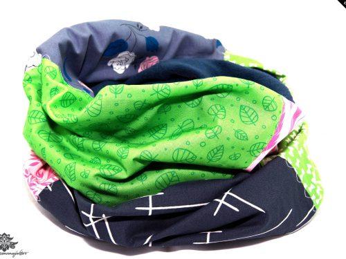 Schal rosa grün grau