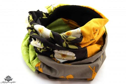 Schal schwarz gelb grün