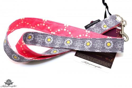 Schlüsselband rosa grau Blumenmuster