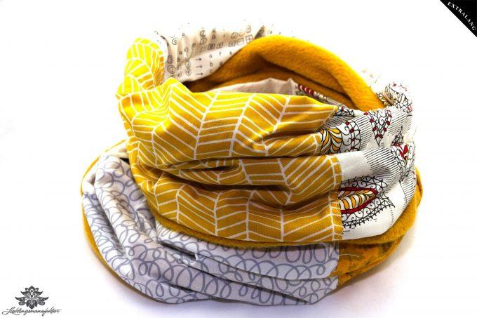 Langer Schal gelb weiss