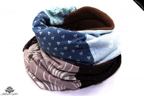 Langer Schal grau blau
