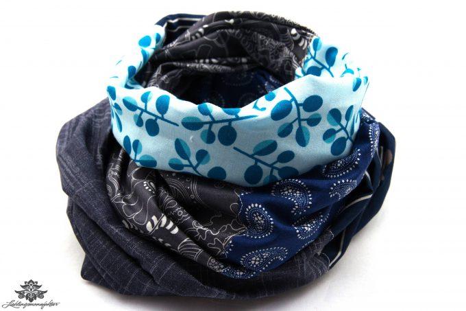 Loop grau Baumwolle blau