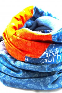 Loopschal orange blau