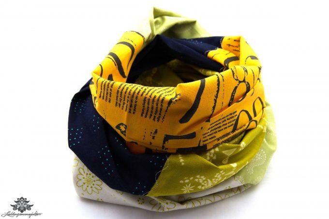 Schal Loop dunkelblau gelb