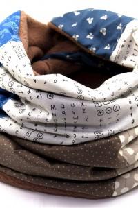 Schal blau weiss beige