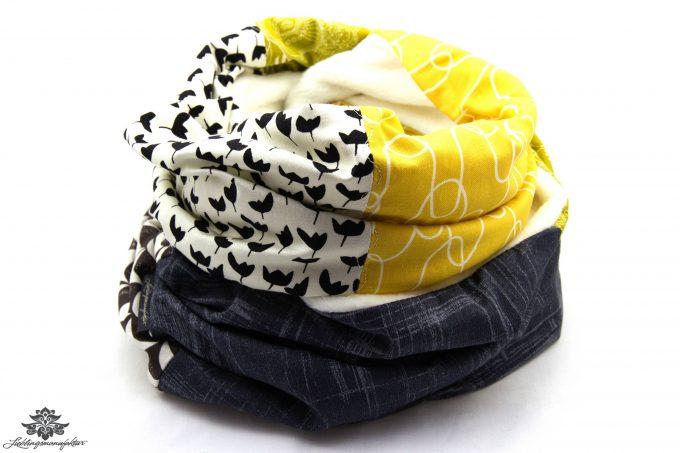 Schal gelb grün grau weiss