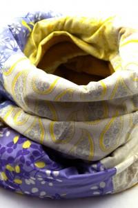Schal gelb lila weiss