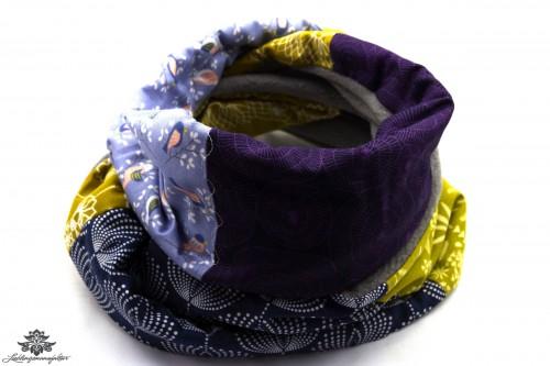 Schal grau grün lila