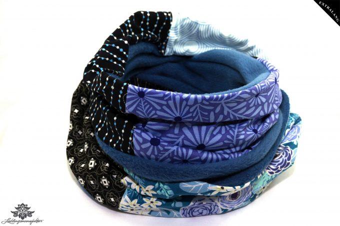 Schal lang dunkelblau hellblau