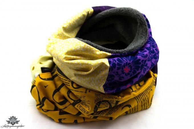 Schal lila gelb grau