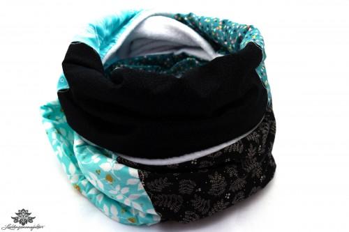 Schal schwarz blau weiss