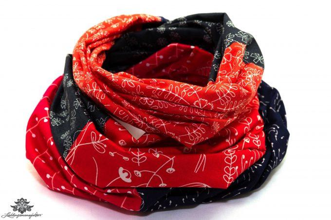 Tuch rot schwarz dunkelblau