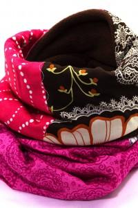 Winterschal braun rosa