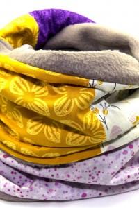 Winterschal lila grau gelb