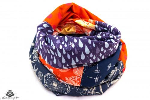 Loopschal Baumwolle dunkelblau orange