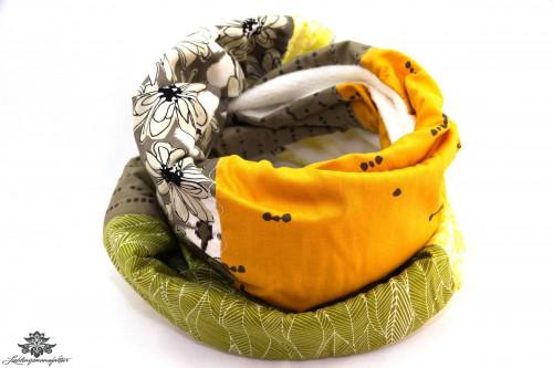 Loopschal Winter beige gelb grün