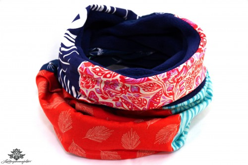 Loopschal Winter rot blau