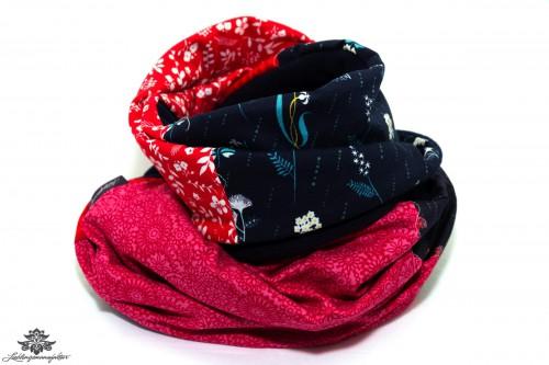 Schal rot blau