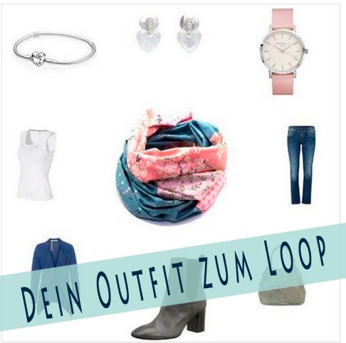 Outfit Loop rosa graublau