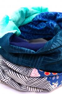 Winterschal blau türkis