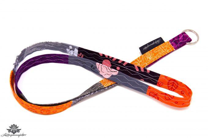 Schlüsselband orange lila grau