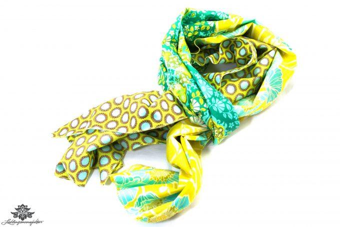 Luftiges Tuch türkis grün gelb